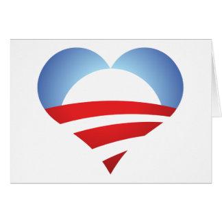 Corazón de Obama Tarjeta De Felicitación