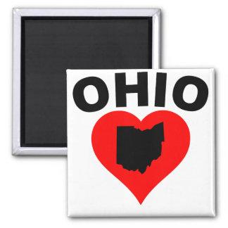 Corazón de Ohio Imán Cuadrado