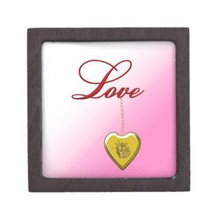 Corazón de oro caja de joyas de calidad