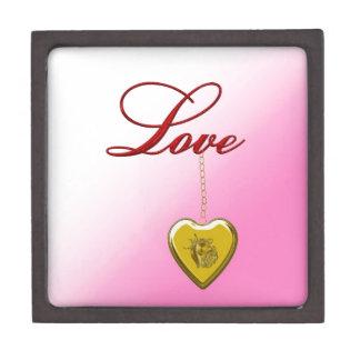 Corazón de oro caja de recuerdo de calidad