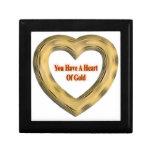 Corazón de oro cajas de recuerdo