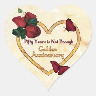 Corazón de oro de 50 aniversarios pegatina en forma de corazón
