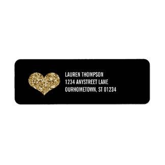 Corazón de oro de la chispa etiqueta de remite