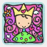 Corazón de oro de la corona princesa femenina pegatina cuadrada