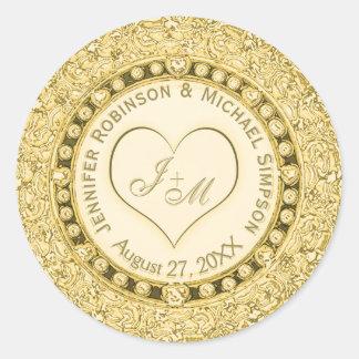 Corazón de oro de la hoja del vintage falso pegatina redonda