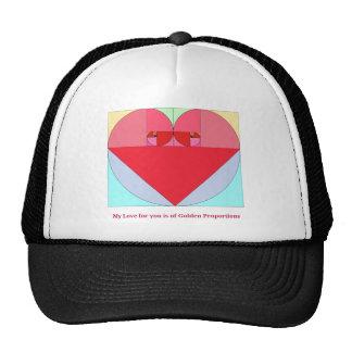 Corazón de oro del coeficiente gorras