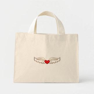Corazón de oro del rubí de las alas bolsa de tela pequeña
