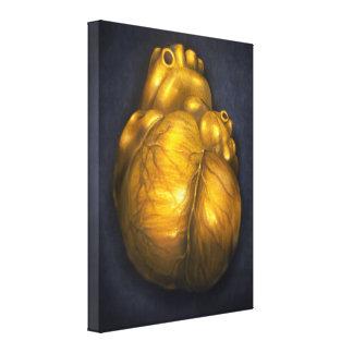 Corazón De Oro - lona 18x24 del corazón de oro Lienzo Envuelto Para Galerías