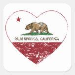 corazón de Palm Spring de la bandera de California Calcomania Cuadradas Personalizadas