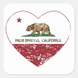 corazón de Palm Spring de la bandera de California Pegatina Cuadrada