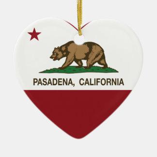 corazón de Pasadena de la bandera de California Ornamento De Navidad