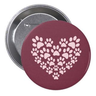 Corazón de Pawprint Pin