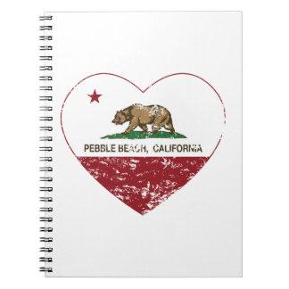 corazón de Pebble Beach de la bandera de Californi Libro De Apuntes Con Espiral