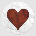 Corazón de piedra rojo etiqueta