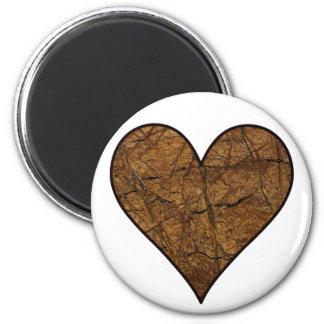 Corazón de piedra rústico imán de frigorífico