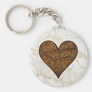 Corazón de piedra rústico llaveros personalizados