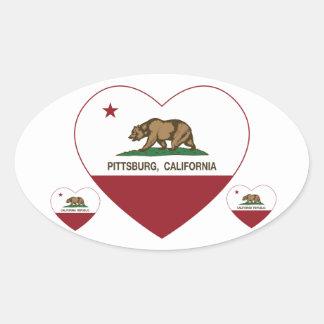 corazón de Pittsburg de la bandera de California Pegatina Ovalada