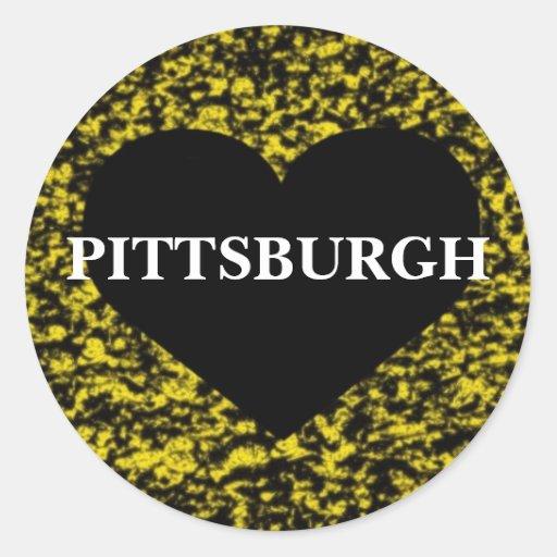 Corazón de Pittsburgh Pegatina Redonda