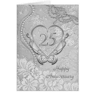 Corazón de plata, 25to aniversario de boda del cor tarjeta de felicitación