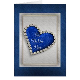 Corazón de plata azul romántico del diamante tarjeta