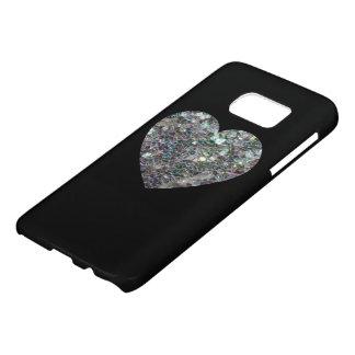 Corazón de plata brillante del mosaico en negro funda samsung galaxy s7