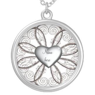 Corazón de plata colgante redondo