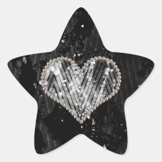 Corazón de plata de la perla pegatina en forma de estrella
