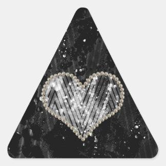 Corazón de plata de la perla pegatina triangular