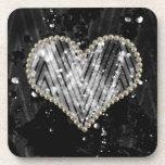 Corazón de plata de la perla posavasos de bebidas