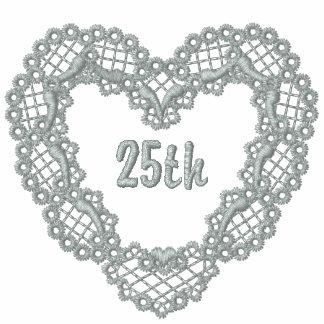 Corazón de plata del cordón - 25to aniversario