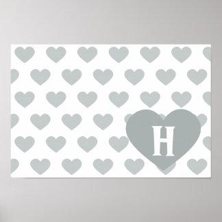 Corazón de plata grande - monograma póster