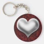 Corazón de plata hinchado en rojo llaveros personalizados