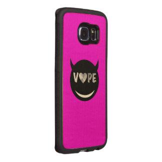 Corazón de plata negro rosado de Vape Funda De Madera Para Samsung Galaxy S6 Edge