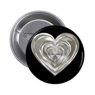 Corazón de plata pin redondo de 2 pulgadas