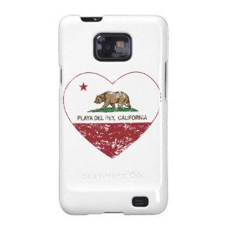 corazón de Playa del Rey de la bandera de Californ Galaxy SII Fundas