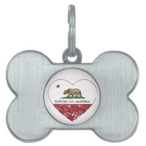 corazón de Playa del Rey de la bandera de Californ Placa Mascota