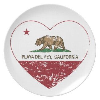 corazón de Playa del Rey de la bandera de Californ Plato De Cena