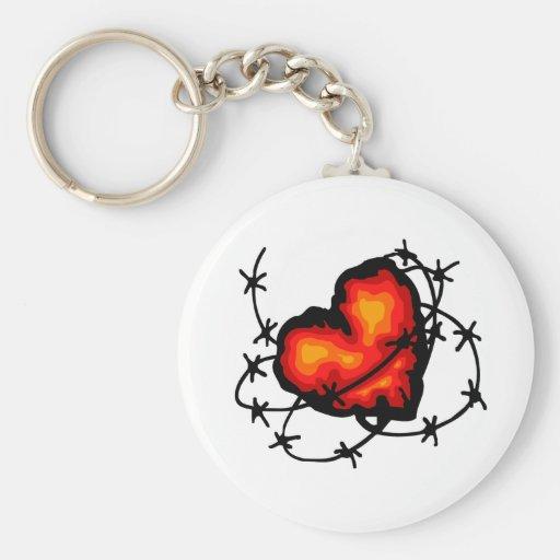 Corazón de púas llavero redondo tipo pin