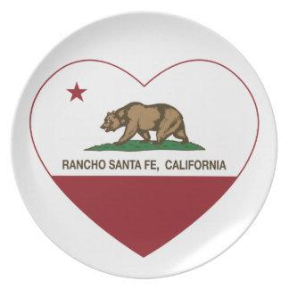 corazón de Rancho Santa Fe de la bandera de Califo Platos
