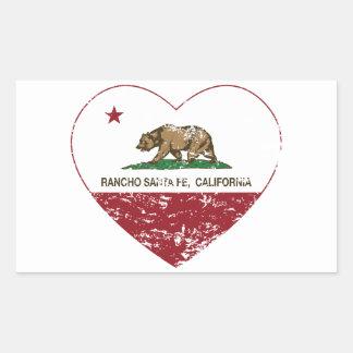 corazón de Rancho Santa Fe de la bandera de Pegatina Rectangular