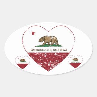 corazón de Rancho Santa Fe de la bandera de Pegatina Ovalada