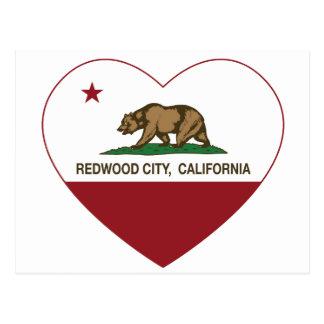 corazón de Redwood City de la bandera de Californi Tarjeta Postal