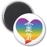 Corazón de Reiki del arco iris Imanes