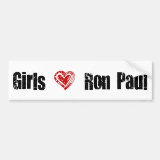Corazón de Ron Paul del amor de los chicas Pegatina Para Auto