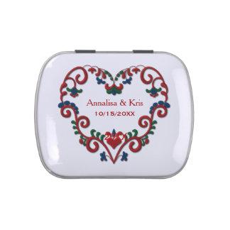 Corazón de Rosemaling del noruego personalizado Jarrones De Dulces