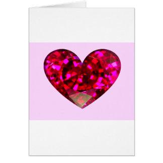 Corazón de rubíes tarjeta