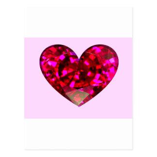Corazón de rubíes tarjetas postales