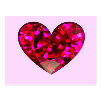 Corazón de rubíes postal