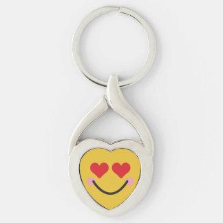 Corazón de ruborización lindo para el emoji de los llavero plateado en forma de corazón