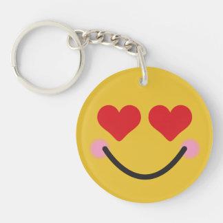 Corazón de ruborización lindo para el emoji de los llavero redondo acrílico a una cara